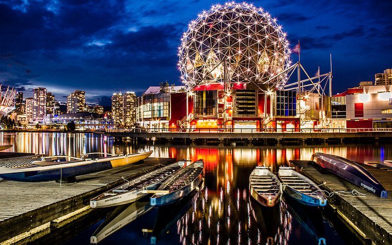 Science World at night. Image: digitaldesi
